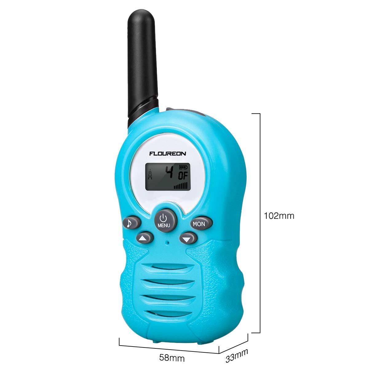 FLOUREON Toy Walkie Talkies 8 Channel Twins PMR446MHZ Two Way Radio Up to 3300Meters/3Miles Range Handheld Interphone Blue