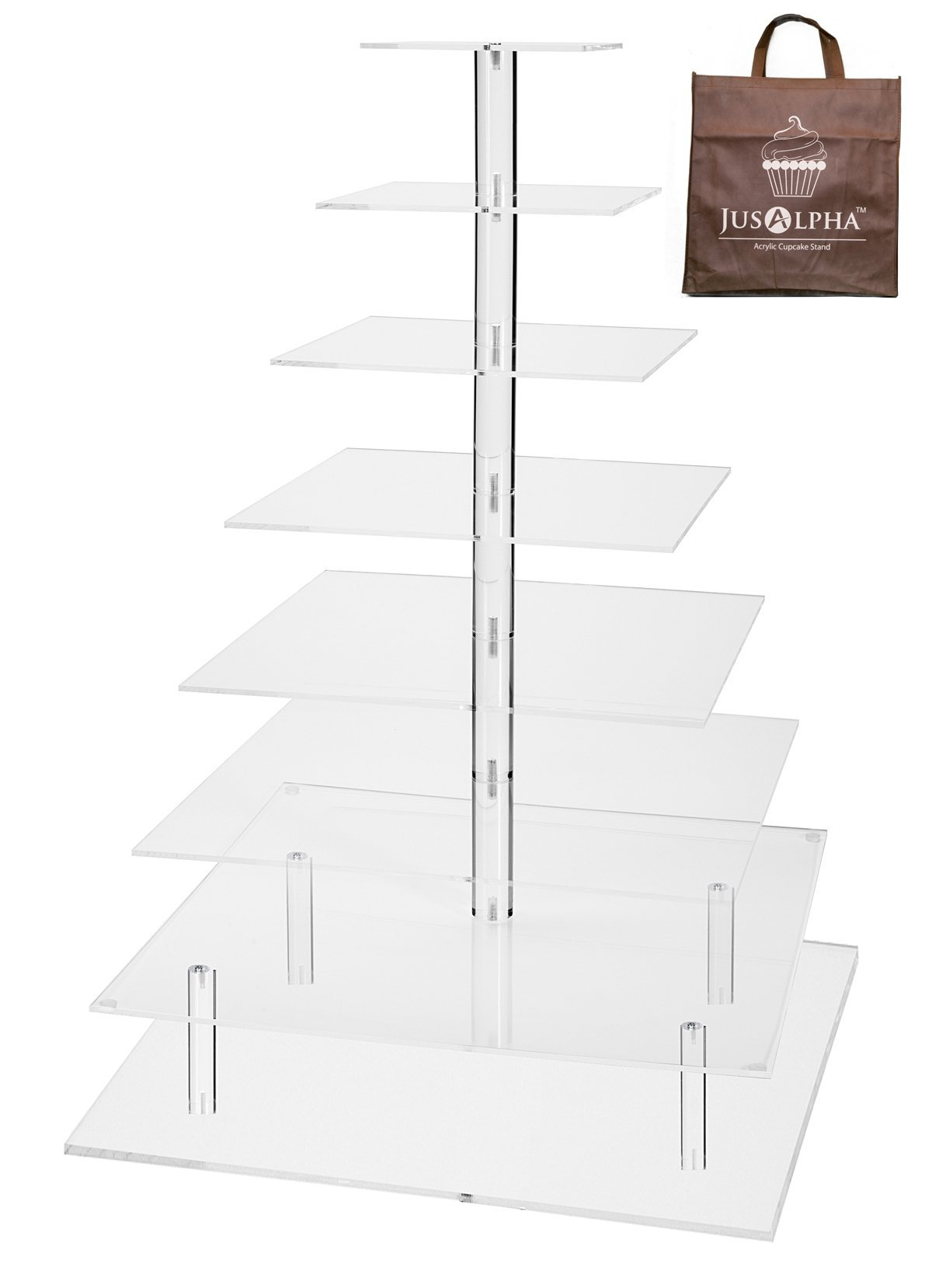 Jusalpha Large 8-Tier Wedding Party Acrylic Glass Cupcake Stand-cake Stand and Dessert Tower (Large 8S)