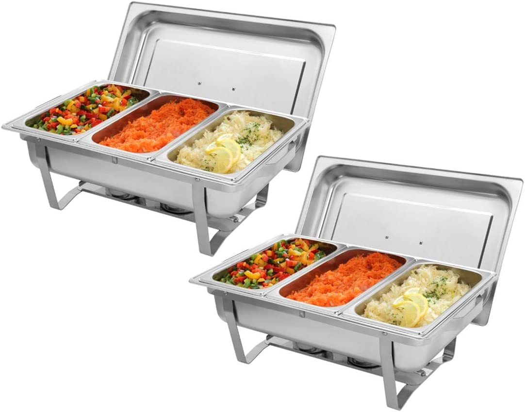 9L2 Three Sets of Dishes 31/3 Stainless Steel Rectangular Buffet Stove Chafer Dishes– Includes Food Pan, Water Pan– Durable, shiny silver, keeps food warm in catered events
