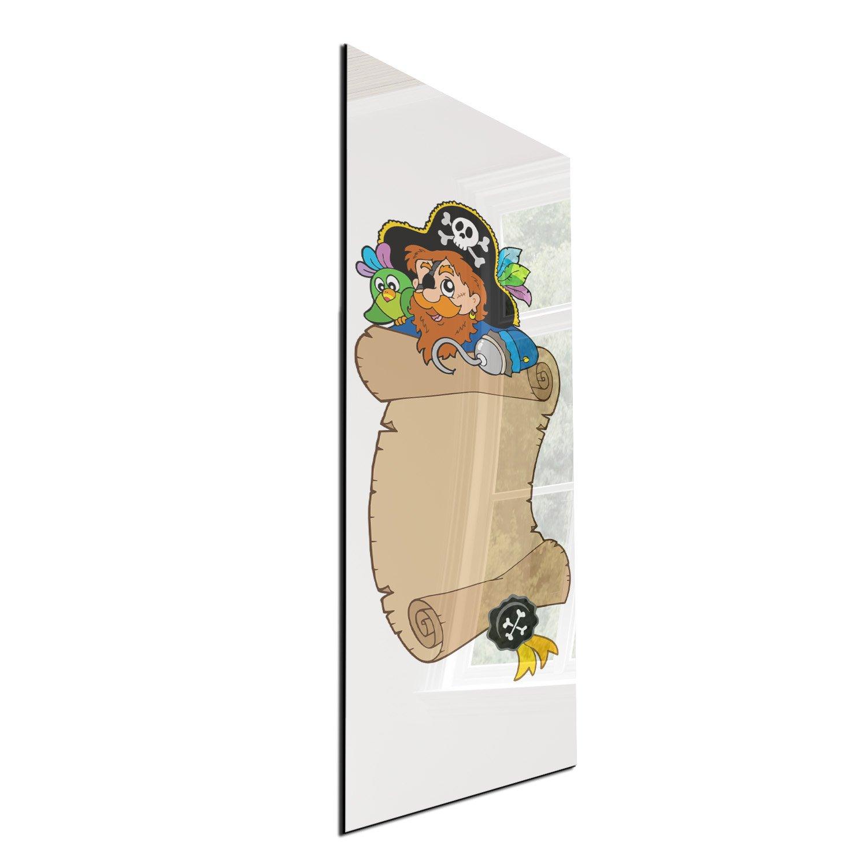 DEKOGLAS Glas Magnettafel 'Pirat - Mehrfarbig' Magnetwand Memoboard 30x80 cm, Wandtafel für Küche & Wohnzimmer, Pinnwand magnetisch