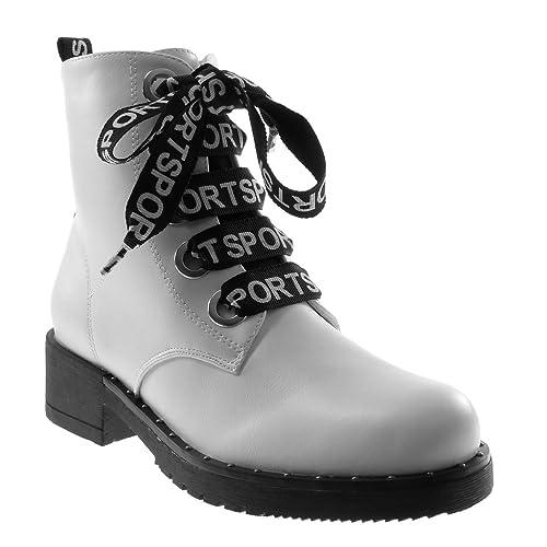 Angkorly - Zapatillas Moda Botines Botas Militares Sporty Chic Mujer Tachonado Tacón Ancho 4 CM - Blanco XH1037 T 41: Amazon.es: Zapatos y complementos