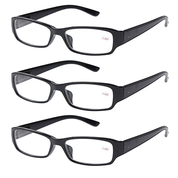 f6f2b32153 3 PRS of Black Frame Shortsighted Distance Glasses -1.50 Strength  These  are not reading glasses   Amazon.co.uk  Health   Personal Care