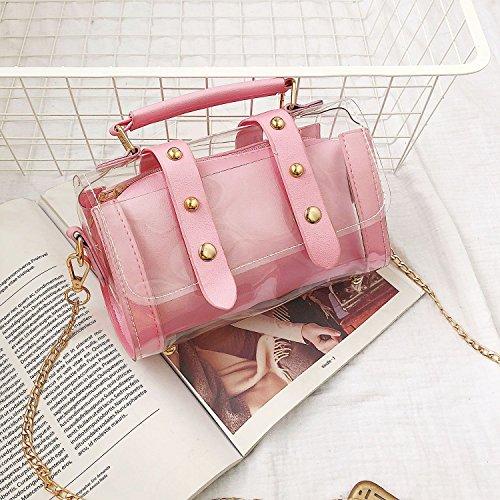 Rose gelee rivet Rose de Sacs composites en a bandouliere de transparent femelle a chaine messager de sac Sacs bandouliere Petit en TOOGOO mode Sac BxwTgB