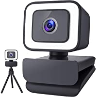 1080P Webcam with Microphone for Desktop, 2021 Upgraded FHD 30fps Streaming Webcam with Light and Tripod, USB Web Camera…