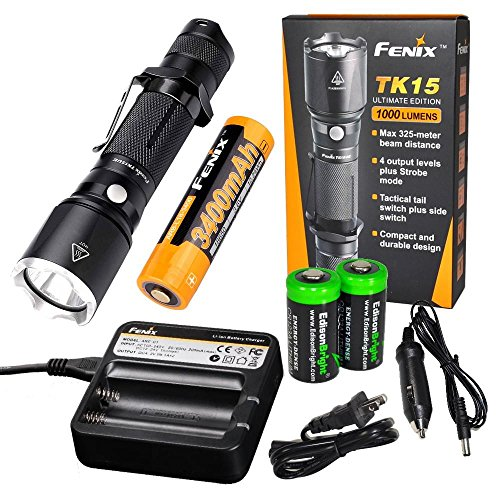 Fenix TK15UE 2016 CREE LED 1000 Lumen tactical Flashlight with Fenix 18650 (Lithium Package)