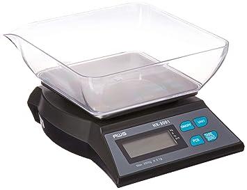 Báscula de cocina digital con bol 3000 G x 0,1 G adaptador de CA Tara AWS hx-3001 negro: Amazon.es: Hogar