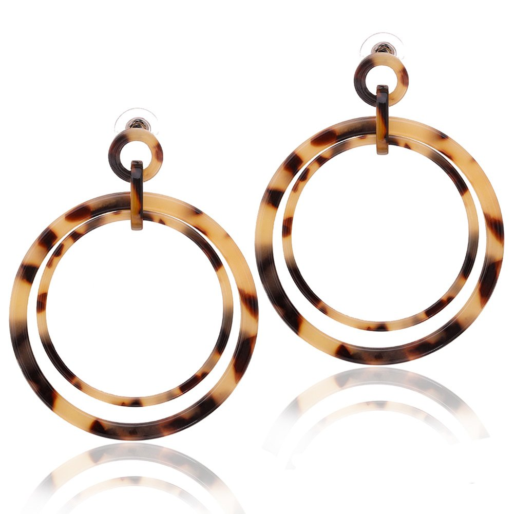 Acrylic Drop Dangle Earrings Mottled Resin Hoop Earrings Double Circle Statement Earring for Women (B Leopard)