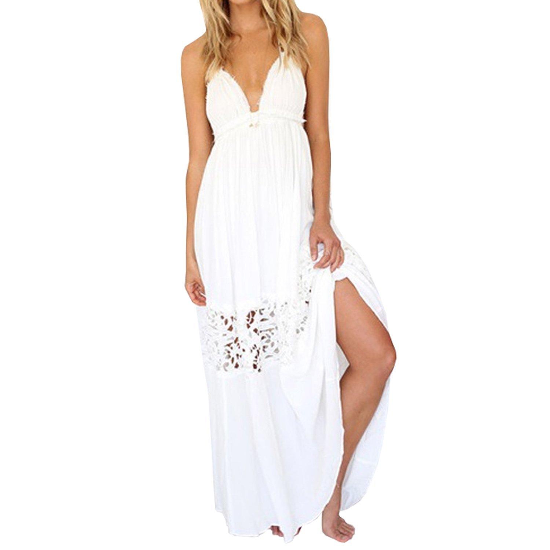 SUNNOW® NEU Damen Sommerkleider Strandkleider Bandeau rückenfrei Sexy Neckholder mit Spitze Stitching Party Rock Frauen Abendkleider Cocktailkleid Weiß