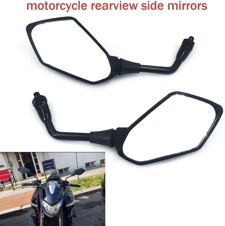 Rear View Side Mirrors Motorcycle Integrated Mirror For Kawasaki Z1000 2003-2011 Z750 2004-2011 ER-6N 06-10 Versys KLE 650 07-10 ZRX1100 97-00 ZRX1200 01-08 Sport Bike With 2Pcs Plastic Mirror Black