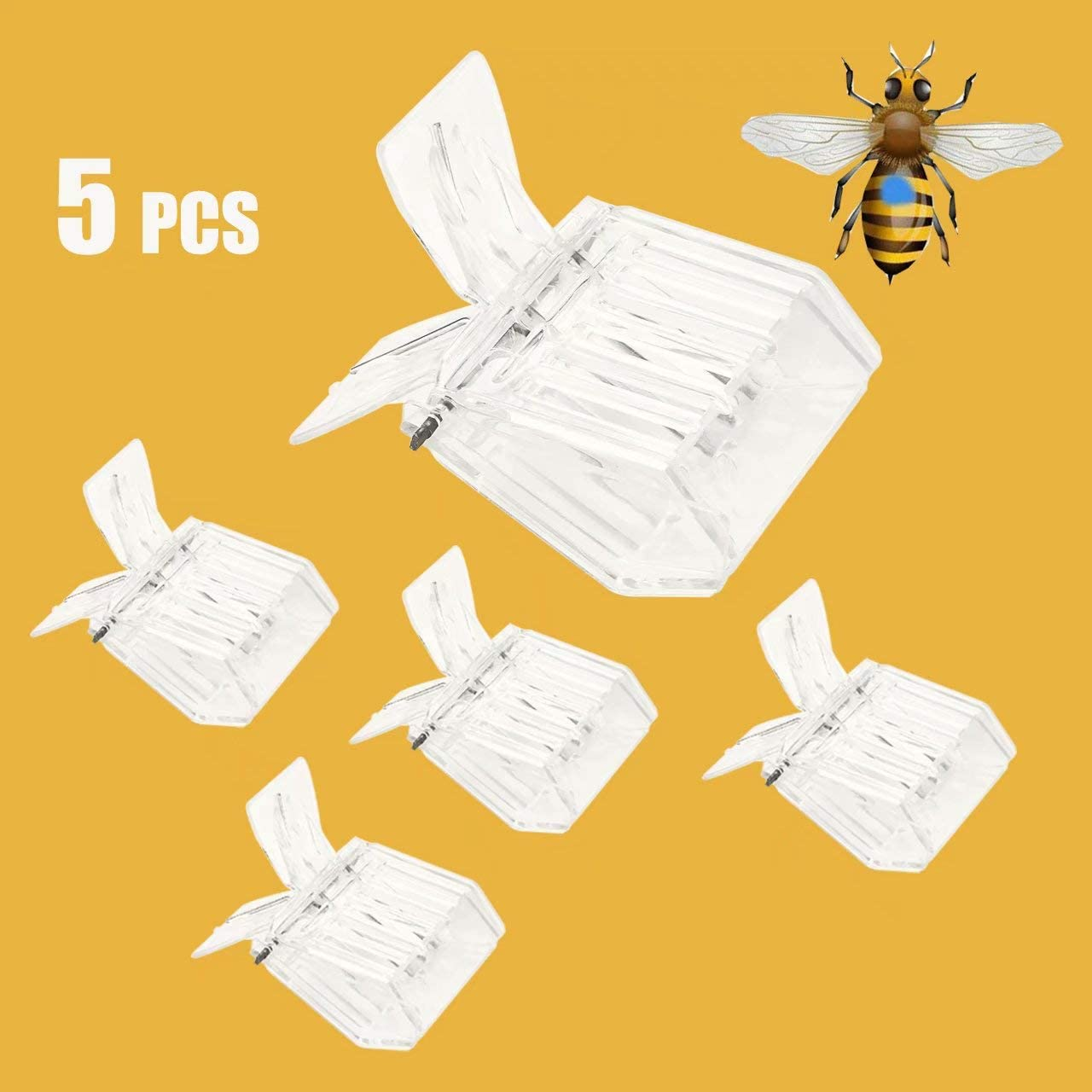 5 Pack Stainless Steel Clip Bee Cage Catcher Honey Beekeeping Queen Cage Tools