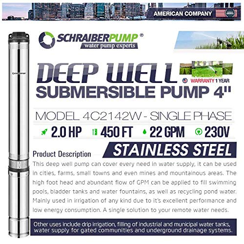 SCHRAIBERPUMP 4'' Deep Well Submersible Pump 2HP, 230v, NEW EXCLUSIVE AXIAL LOAD DESIGN, 450'head, 195PSI max, 22GPM, 2wire, Thermal Protection, stainless steel, impregnated winding INCLUDES SPLICE KIT by SCHRAIBERPUMP (Image #2)