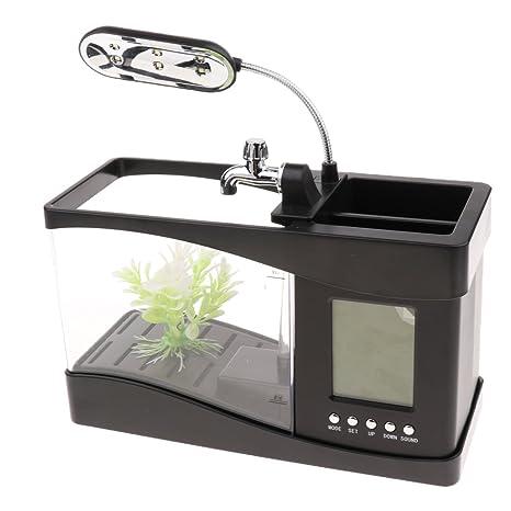 Homyl USB Mesa Tanque de Peces Acuario Complimemtos Diseño Creativo Funciones Múltiples Duradero - Negro: Amazon.es: Hogar