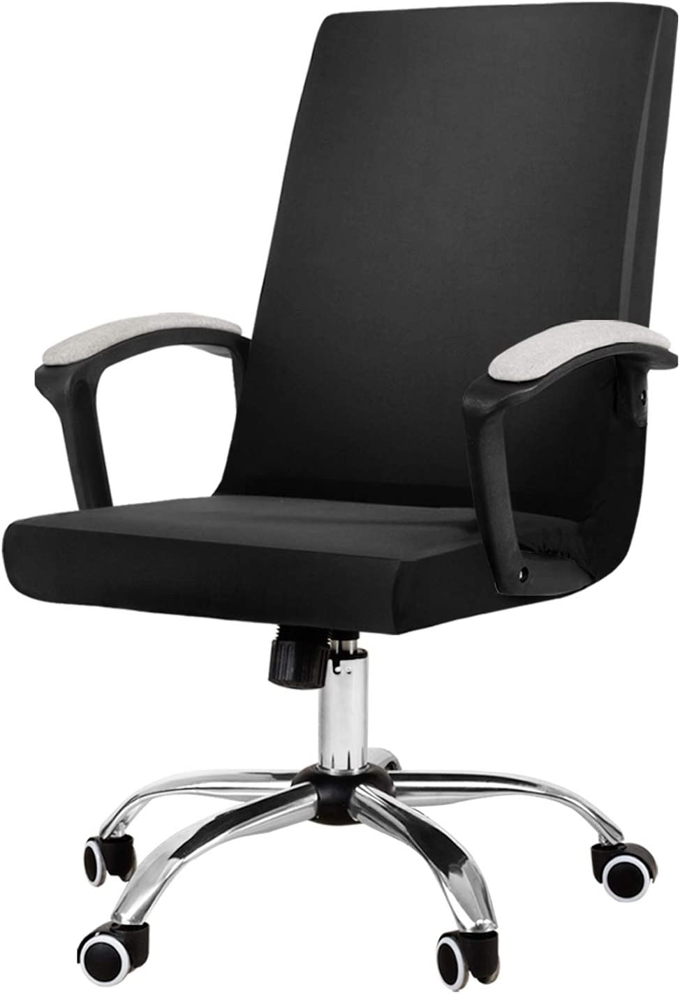 JIATER Stretchable Office Chair Cover Computer Chair Slipcovers Universal Boss Chair Seat Covers Modern High Back Chair Slip Cover for Leather Desk Chair (Black)