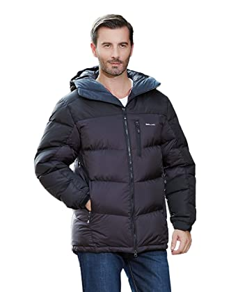 UAISI Men Thcik Goose Down Coat Winter Outdoor Hooded Parka Jacket ...