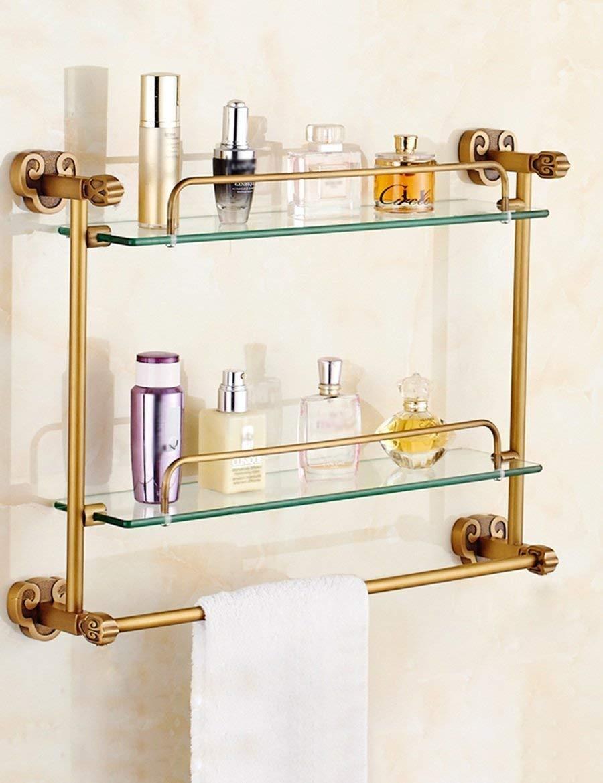 YCT シャワーはガラスプレートアンティーク銅浴室トイレトイレダブルラック棚を非常に閉じて品質を確保 (サイズ : 43*64cm) B07TGZG3B3  43*64cm