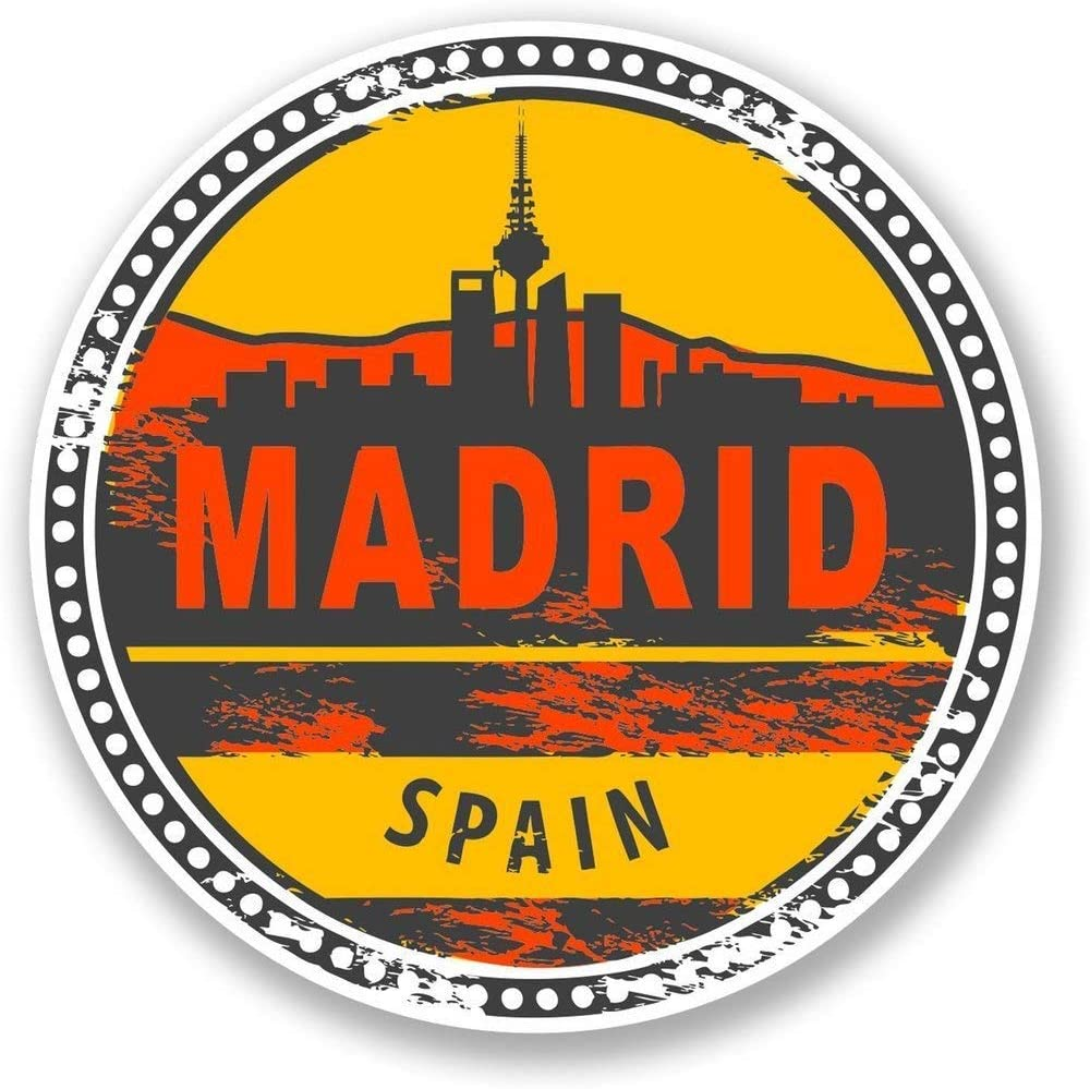 Madrid Spain Vinyl Sticker Decal Laptop Car Bumper Sticker Travel Luggage Car iPad Sign Fun 5""
