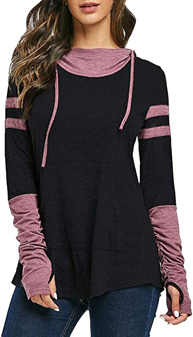 SGYH Womens Hoodie Ruched Contrast Heathered Thumb Hole Long Sleeve Hooded Shirts Tops with Kangaroo Pocket Khaki,XL
