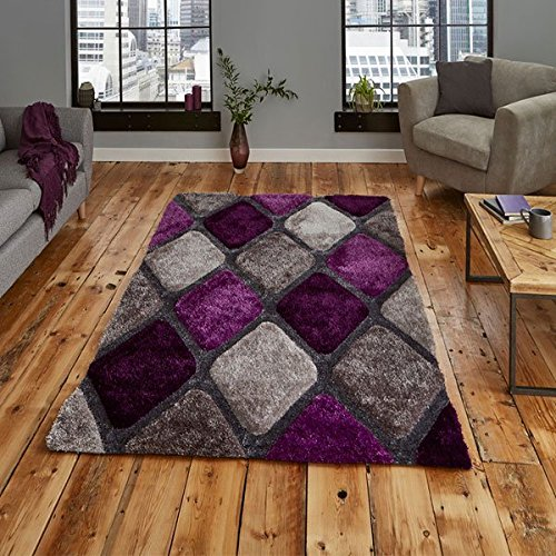 Think Rugs Noble House NH9247 Shaggy Hand Tufted Rug, Grey/Purple, 120 x 170 Cm