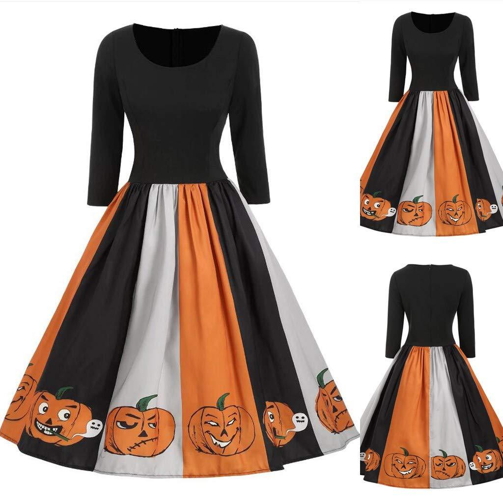 charmsamx Women's 50s Vintage Retro Swing Dress Halloween Pumpkin Rockabilly Cocktail Party Dress O Neck Mid Sleeves A Line Dress Fashion Costume Dress Black, L by charmsamx
