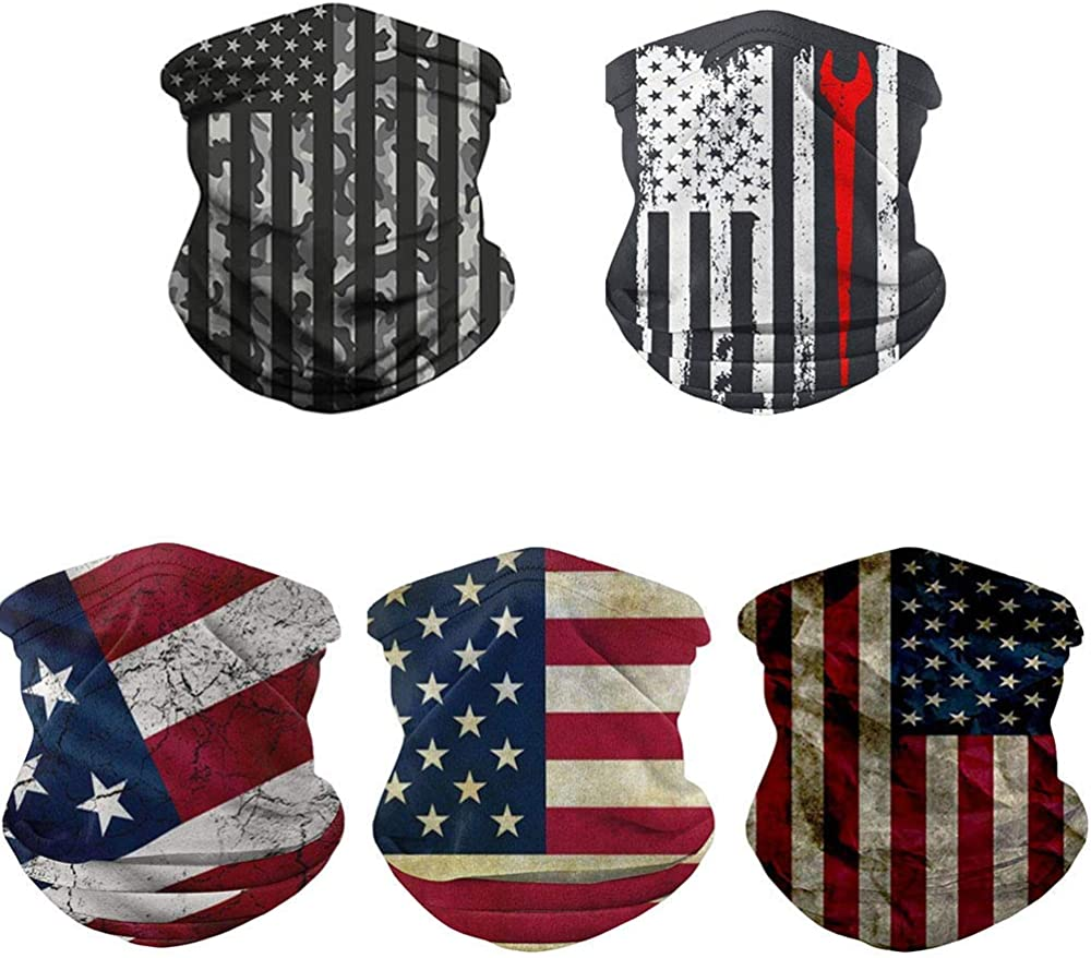 5Pcs Scarf Bandanas Neck Gaiter Unisex Headwear Bandana for Outdoor and Sports