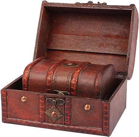 Yardwe 2 unids Antiguo Vintage Caja de Madera Sello Flor Pequeño Metal Cerradura de la Joyería Cofre del Tesoro Hecho A Mano Retro Caja de la Caja Organizador de Madera: Amazon.es: Hogar