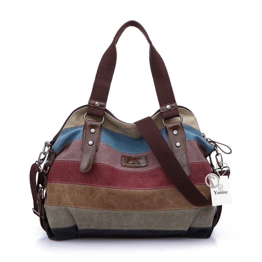 Yoome Canvas Multi-color Stripes Casual Tote Handbags Top Handle Cross Body Bag for Women
