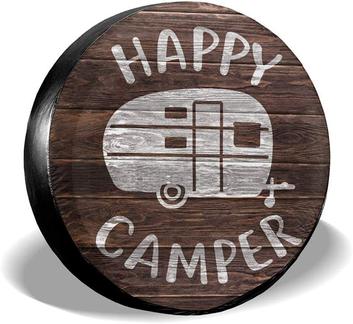 YZ-MAMU Happy Camper Spare Tire Cover Waterproof Dust-Proof for Jeep Trailer RV SUV Truck and Other Vehicles