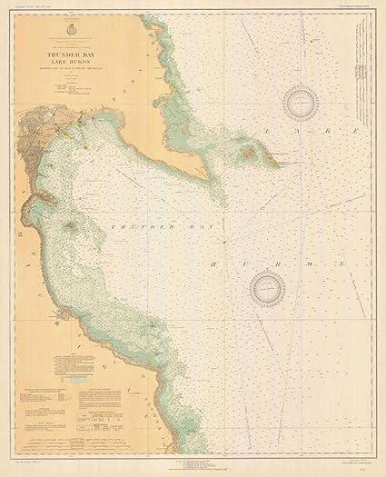 Thunder Bay Michigan Map.Amazon Com Vintography Reprinted 8 X 12 Nautical Map Of Thunder Bay