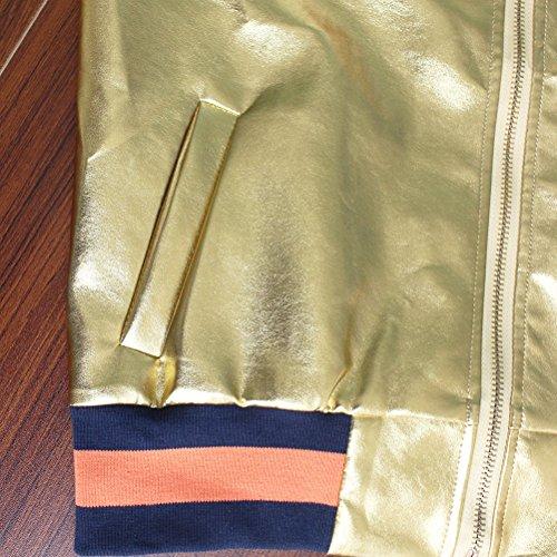 Baggy Glitter Cappotti Casuale Cappotto Donne Casual Giubbotto Battercake Pelle Corti Giuntura Tasche Coreana Invernali Striscia Anteriori Autunno Longsleeve Elegante Collo Donna Giacche Oro Giubbino xwFqf18