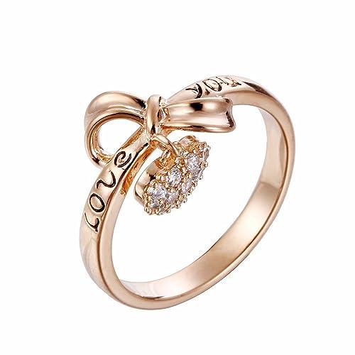 T Cmkj Ring Herzförmige Schöne Schleife Rose Gold Ring Mikro