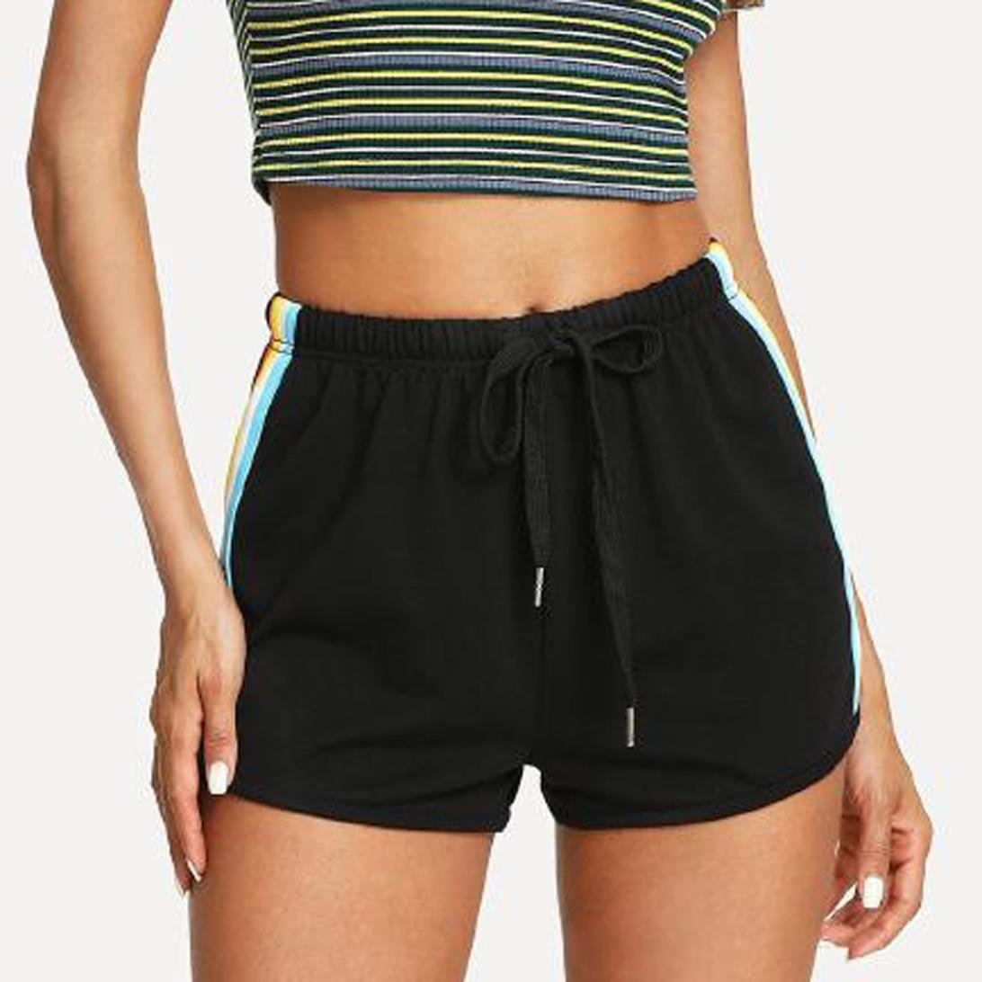 Hmlai Womens Casual Shorts Rainbow Print Elastic Waist Sport Beach Shorts with Drawstring
