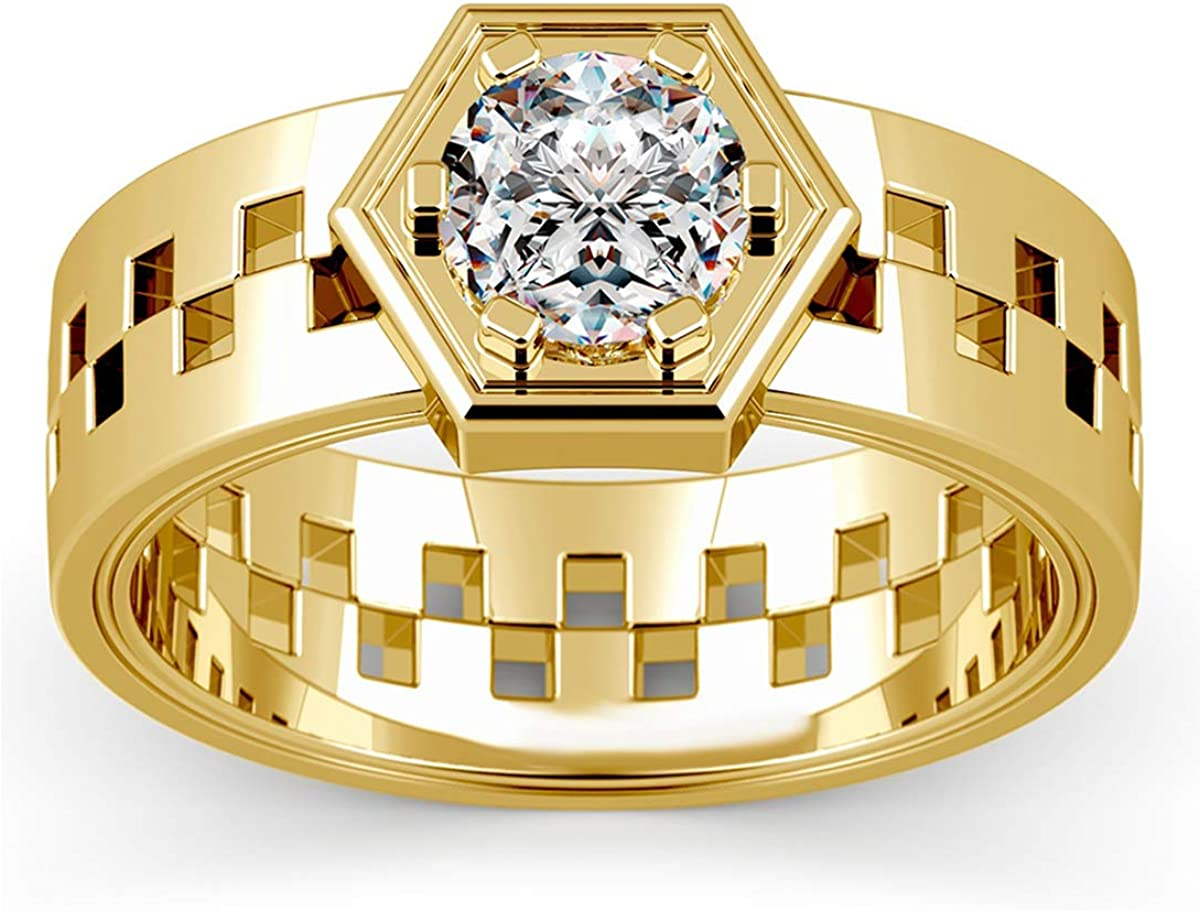 14K Yellow Gold Plated 1.75 Ct Round Cut Simulated Diamond Hexagonal Shaped Mens Ring 8.5