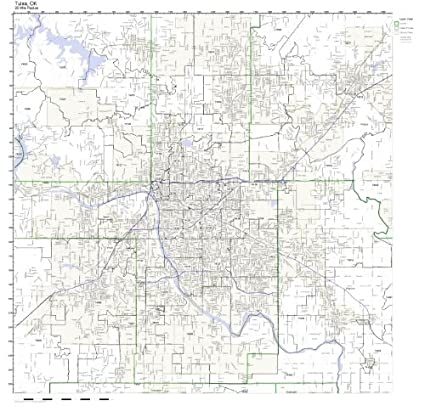Amazon Com Tulsa Ok Zip Code Map Laminated Home Kitchen