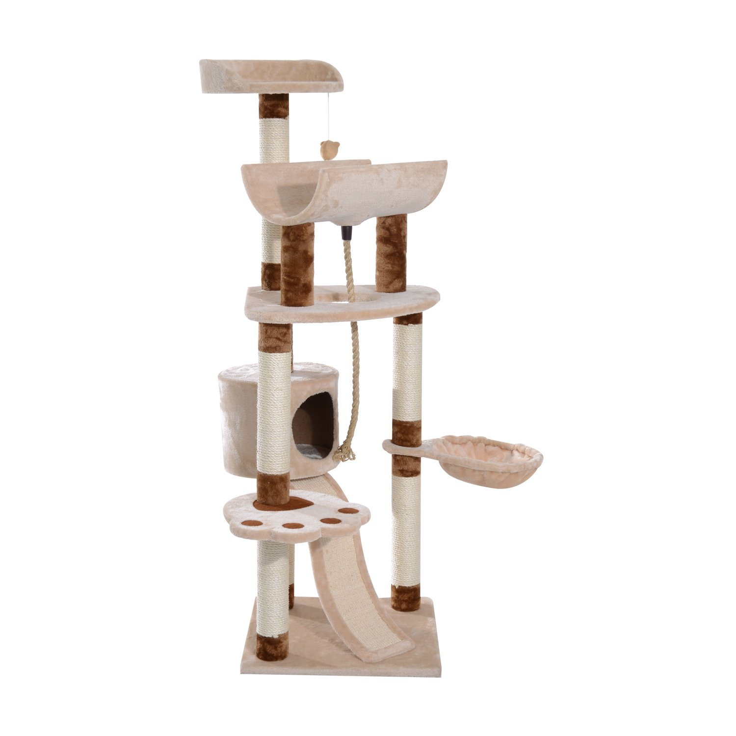 Pawhut 57 Sisal Cat Scratcher Tree Tower Interactive Cat Toy With Perches Cave Ramp Buy Online In Dominica At Dominica Desertcart Com Productid 39723203