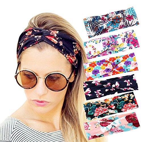 Adecco LLC 6 Pack Headbands for Women Boho Cute Elastic Hairbands Turban Stretchy Floral Style Criss Cross Head -