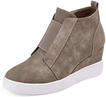 Women Suede Wedge Platform Casual Sneakers Hidden High Heel Shoes Ankle Boots sz