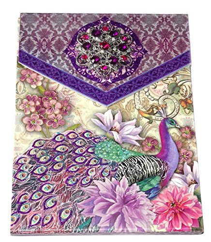 Punch Studio Notepad Majestic Peacock Purse Sketchpad with Purple Brooch