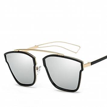 Mode Sonnenbrille Damen Retro Sonnenbrille , Helles Schwarz-Weiß-Quecksilber
