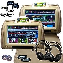 2x Autotain Dream 9 inch Digital Touch Screen Headrest DVD Player Monitor TAN BEIGE