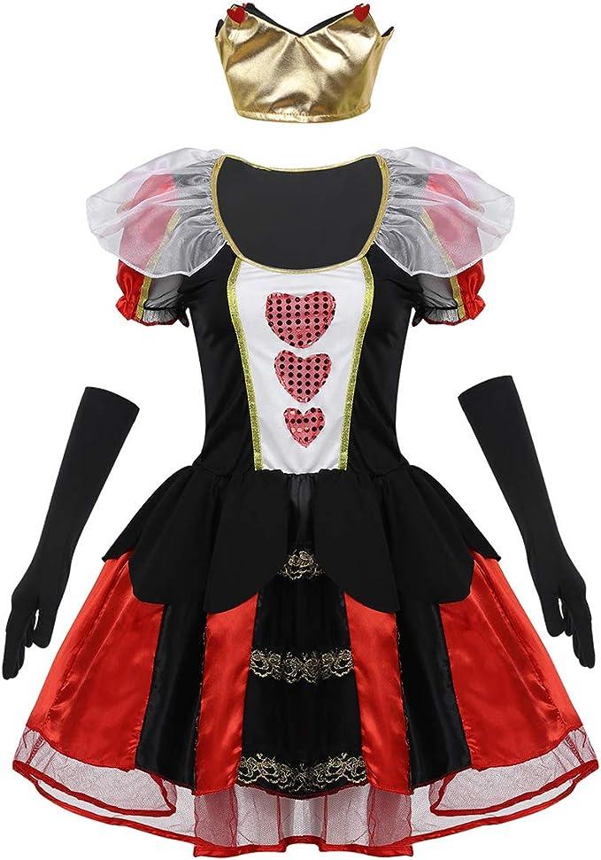 Agoky Disfraz de Reina de Corazones para Mujer Vestido Tutú ...