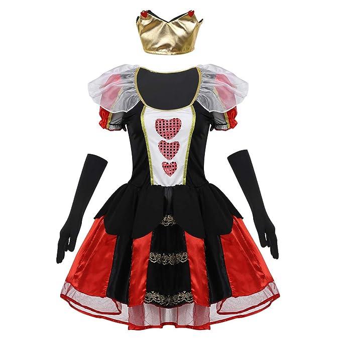Freebily 3 Piezas Disfraz de Reina de Corazones para Mujer ...