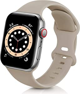 ZALAVER Bands Compatible with Apple Watch Band 42mm 44mm, Soft Silicone Sport Replacement Band Compatible with iWatch Series 6 5 4 3 2 1 Women Men Nut Brown 42mm/44mm M/L