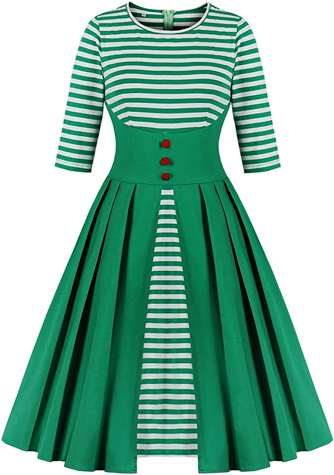 Vintage Red Dresses | Valentines Day Dresses, Outfits, Lingerie Wellwits Womens Stripes Vintage Retro 1950s Style Swing Cocktail Dress $25.98 AT vintagedancer.com