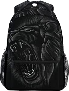 ALAZA Hand Drawn Black Lion Roaring Large Backpack Laptop iPad Tablet Travel School Bag w/Multiple Pockets for Men Women College
