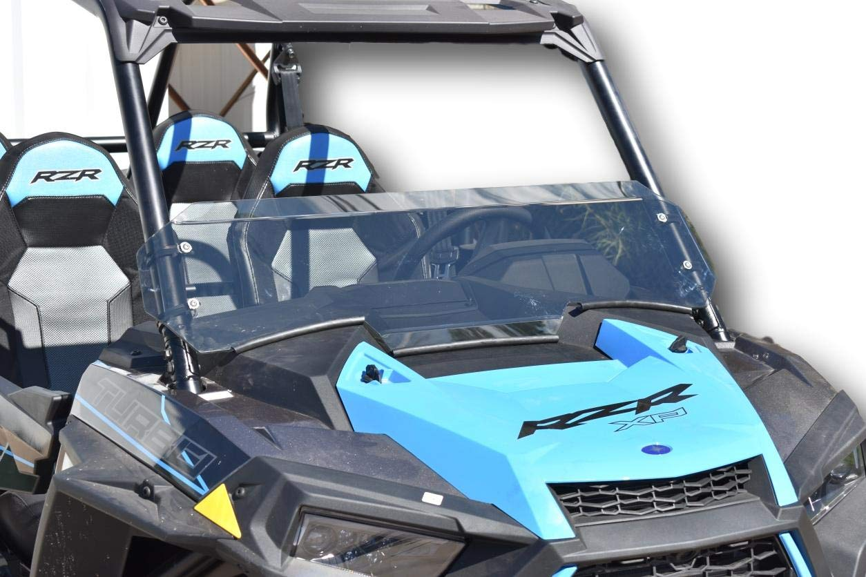 Polaris 2019 RZR XP1000 / Turbo Tinted Half Windshield- 1/4'' Thick, Black Clamps, Wings by UTVGiant