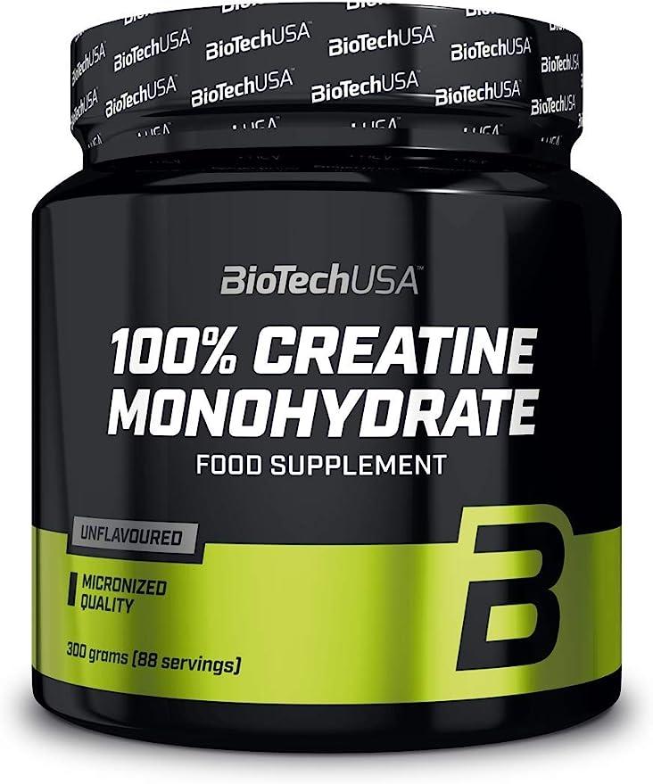 BioTechUSA 100% Creatine Monohydrate Complemento alimenticio en polvo sin sabor a base de monohidrato de creatina micronizado, 300 g