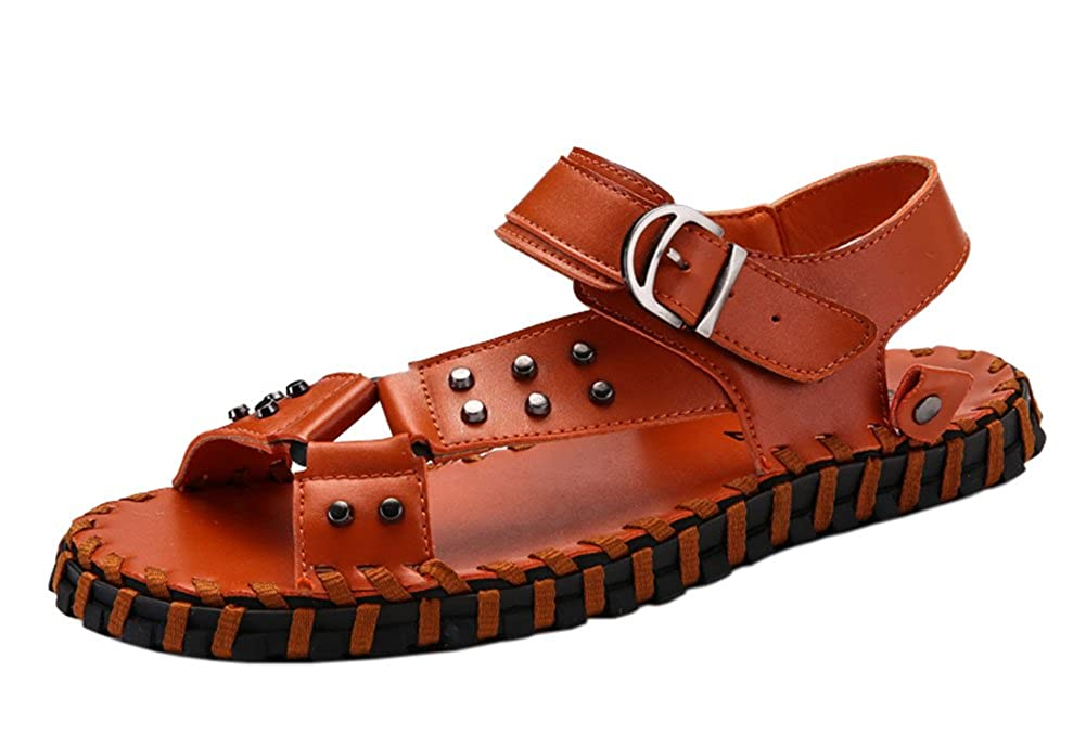 ALSYIQI Mens Leather Outdoor Sports Sandals Summer Fisherman Breathable Beach Shoes AL-189808