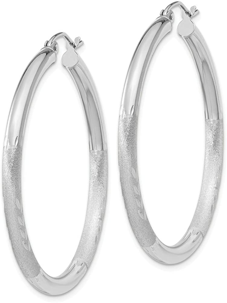 35x3mm Ideal Gifts For Women 10k White Gold Satin and Diamond-cut 3mm Round Hoop Earrings