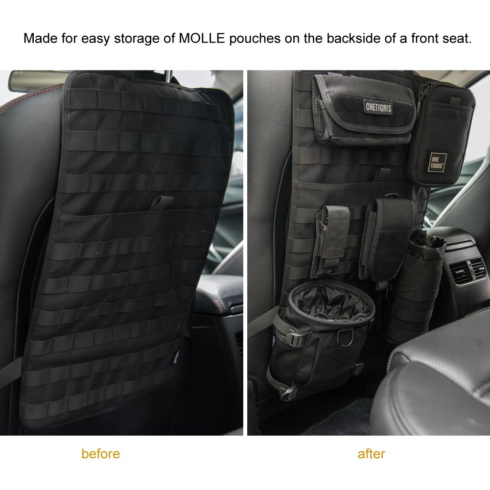 OneTigris Car Seat Back Organizer Coyote Brown Tactical MOLLE Vehicle Panel Car Seat Cover Protector Universal Fit