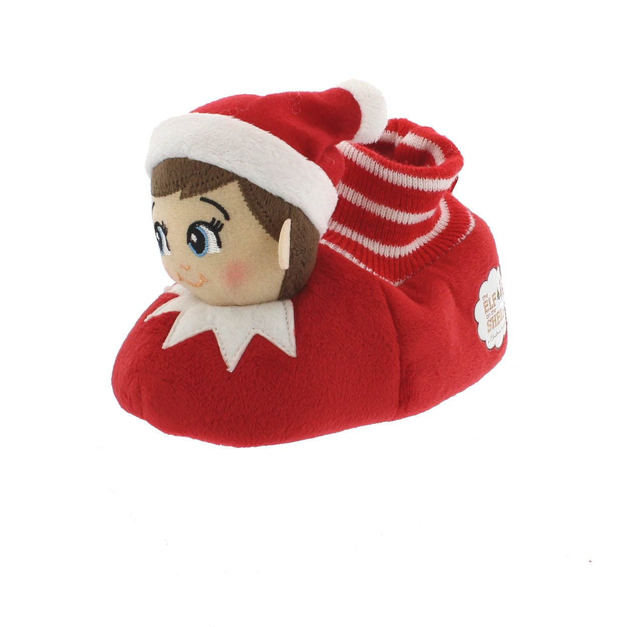 Elf on The Shelf Boys Girls Sock Top Slippers (Toddler Dual Size 5/6, Red)